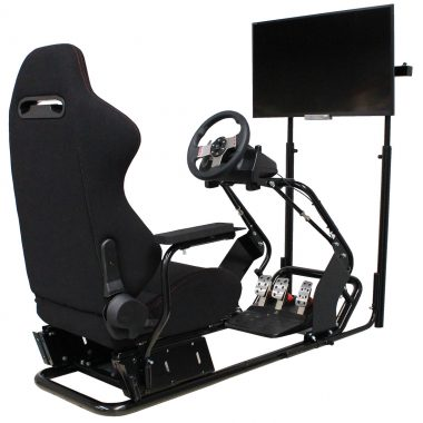 racing simulator cockpit with front LCD TV screen